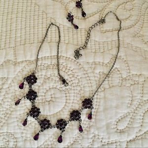 Victorian Purple Necklace & Earrings